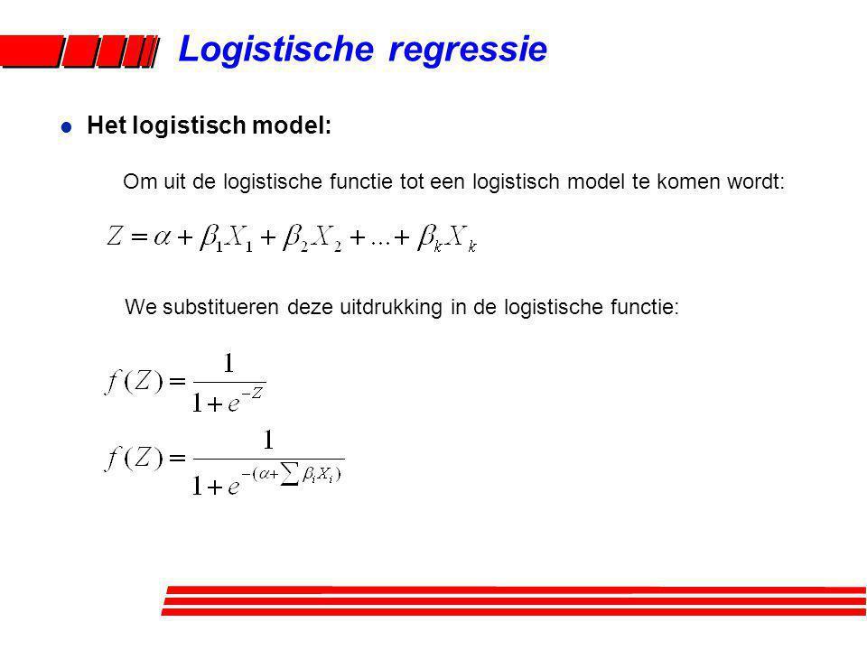 Logistische regressie Om uit de logistische functie tot een logistisch model te komen wordt: l Het logistisch model: We substitueren deze uitdrukking