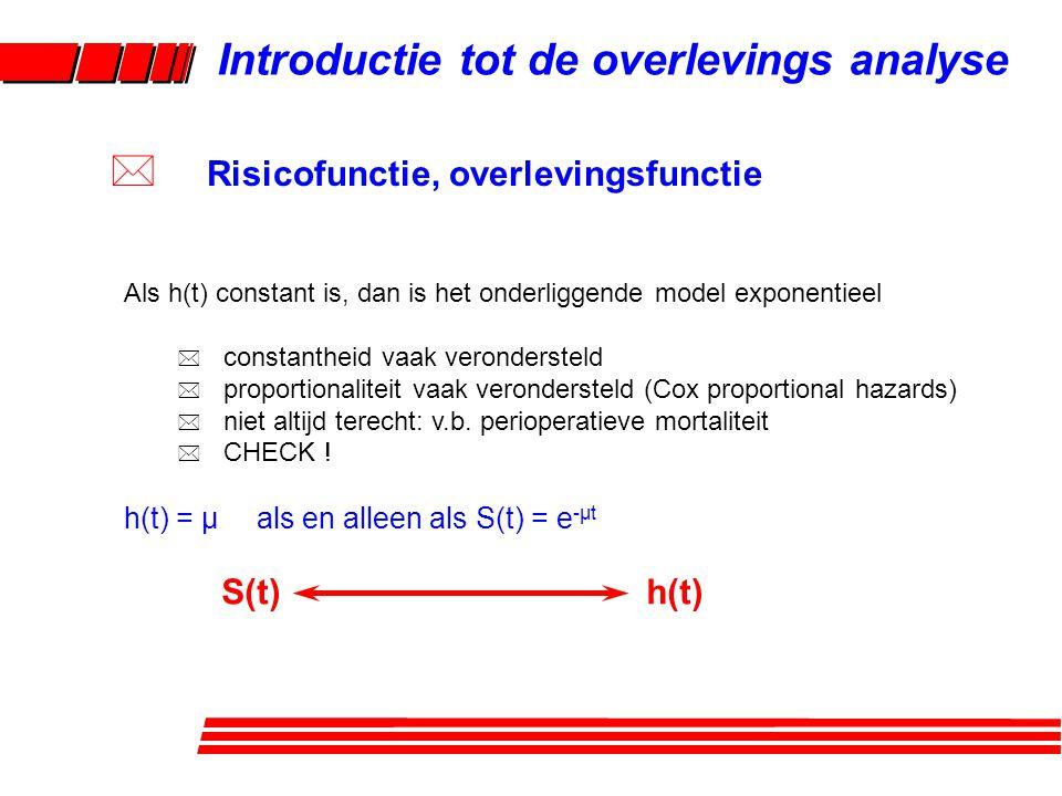 Als h(t) constant is, dan is het onderliggende model exponentieel * constantheid vaak verondersteld * proportionaliteit vaak verondersteld (Cox proportional hazards) * niet altijd terecht: v.b.