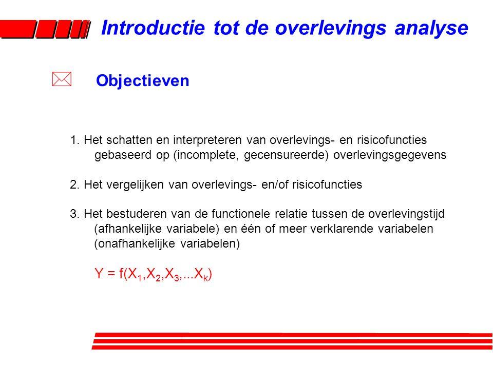 1. Het schatten en interpreteren van overlevings- en risicofuncties gebaseerd op (incomplete, gecensureerde) overlevingsgegevens 2. Het vergelijken va