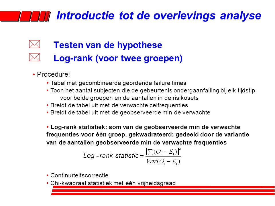 Variantie: O 1 -E 1 = -10,26 Variantie (O 1 -E 1 ) = 6,2685 Log-rank statistiek = 16.793 p = 0,00009 Approximatieve formule: = 15,276 conservatiever Introductie tot de overlevings analyse * Testen van de hypothese * Log-rank (voor twee groepen)