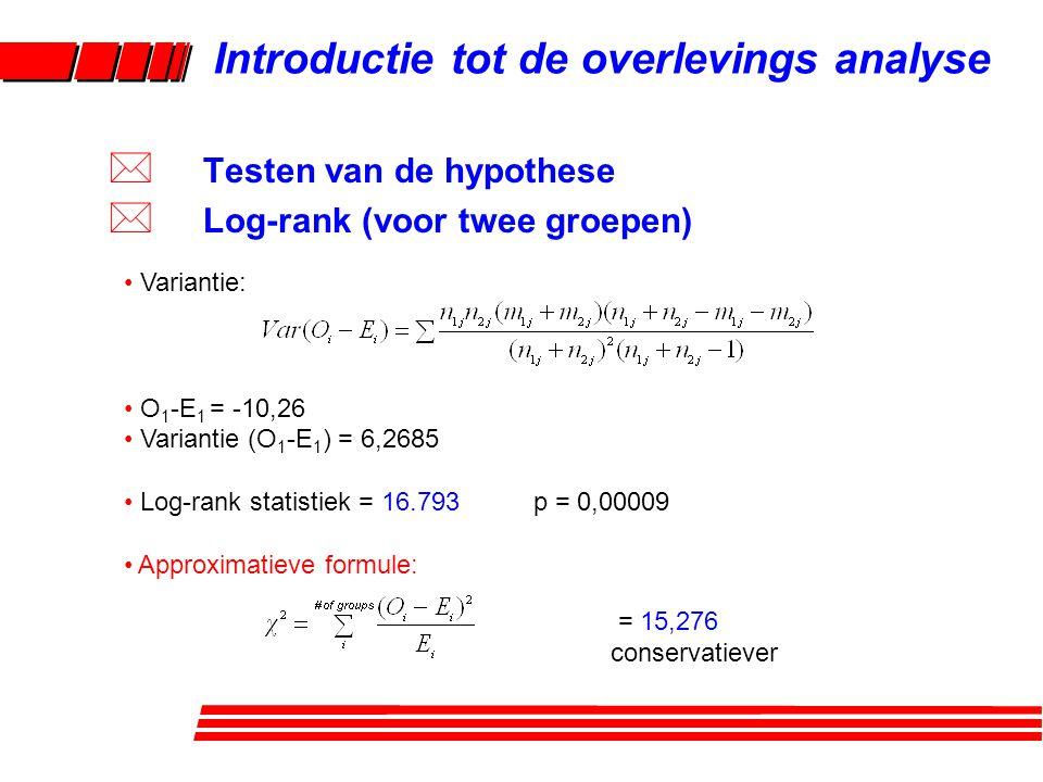 Rosner: continuïteitscorrectie Introductie tot de overlevings analyse * Testen van de hypothese * Log-rank (voor twee groepen)