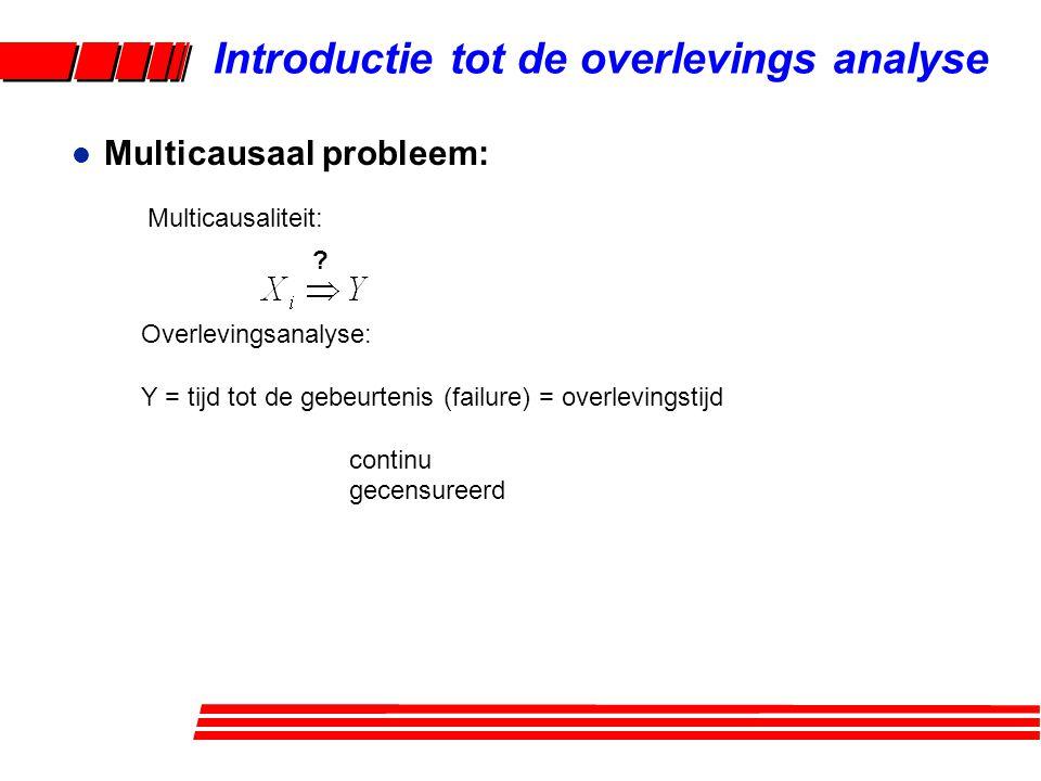 Analyse: Maak gebruik van een mathematisch model multiple regressie Als Y: 'time to event' gebruik dan een Cox-regressie model geadjusteerde hazard ratio: l Multicausaliteit: Introductie tot de overlevings analyse