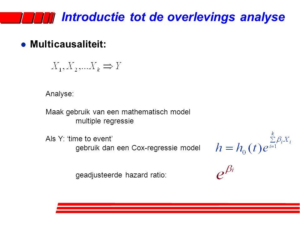 l Cox 'proportional hazards' model: –Vorm –Waarom populair –ML schatting –Hazard ratio –Geadjusteerde overlevingscurven –PH-aanname Introductie tot de overlevings analyse