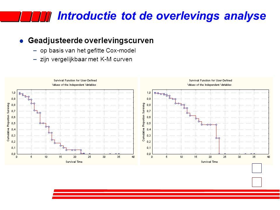 l Geadjusteerde overlevingscurven –op basis van het gefitte Cox-model –zijn vergelijkbaar met K-M curven Introductie tot de overlevings analyse