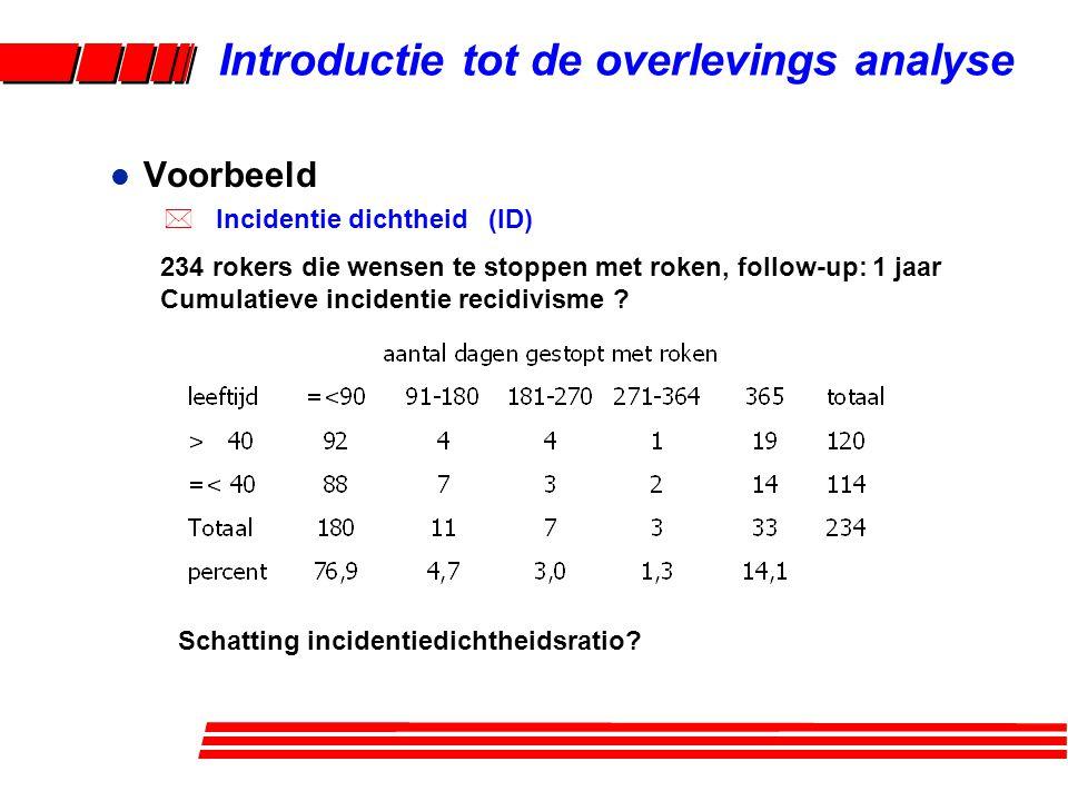 Introductie tot de overlevings analyse Schatting incidentiedichtheidsratio.
