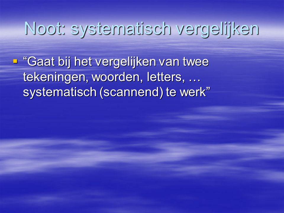 """Noot: systematisch vergelijken  """"Gaat bij het vergelijken van twee tekeningen, woorden, letters, … systematisch (scannend) te werk"""""""