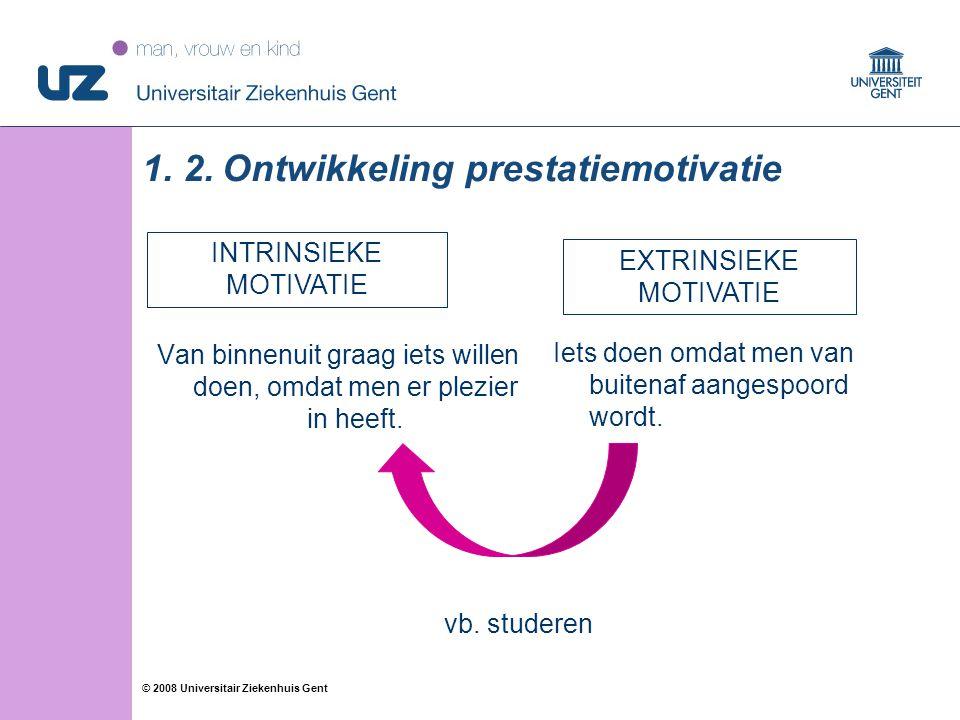 16 © 2008 Universitair Ziekenhuis Gent 1. 2. Ontwikkeling prestatiemotivatie Van binnenuit graag iets willen doen, omdat men er plezier in heeft. Iets