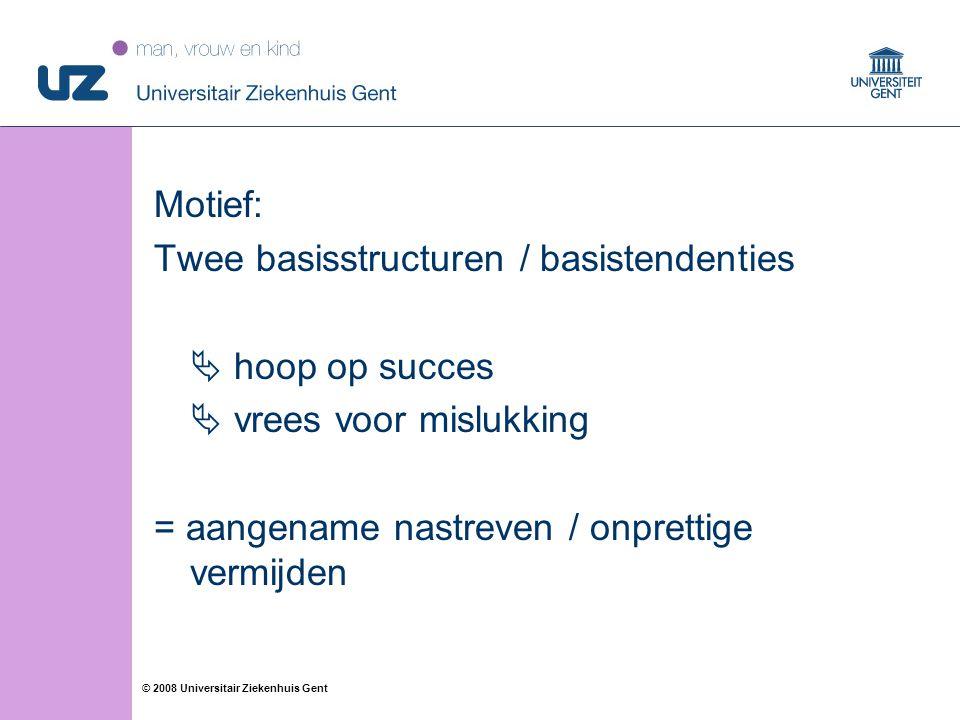18 © 2008 Universitair Ziekenhuis Gent Motief: Twee basisstructuren / basistendenties  hoop op succes  vrees voor mislukking = aangename nastreven /