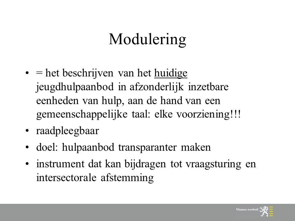 Modulering = het beschrijven van het huidige jeugdhulpaanbod in afzonderlijk inzetbare eenheden van hulp, aan de hand van een gemeenschappelijke taal: elke voorziening!!.
