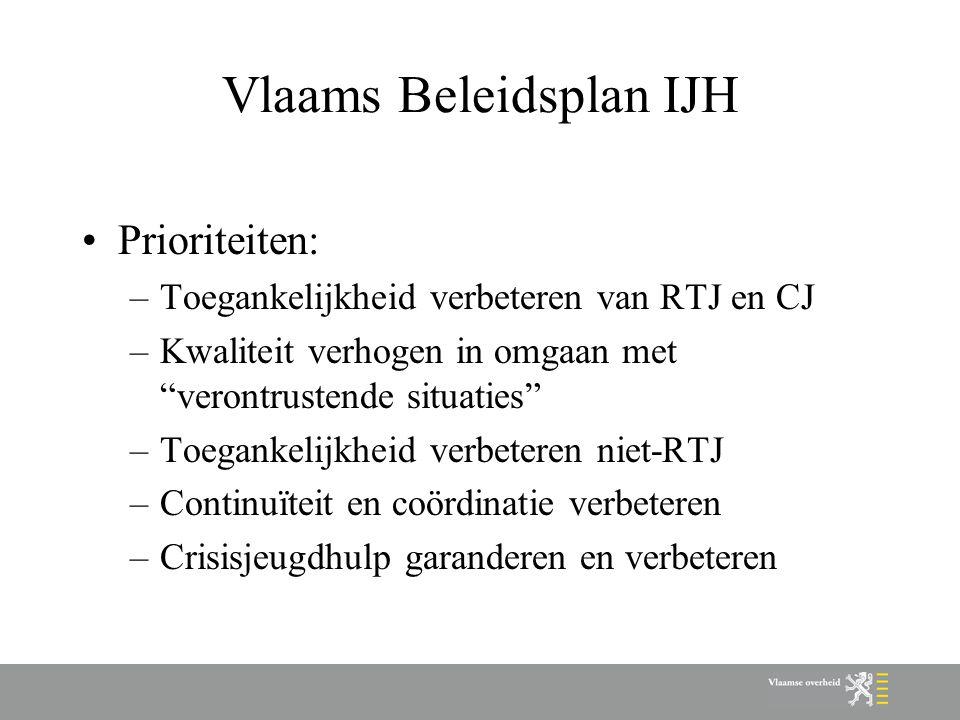 "Vlaams Beleidsplan IJH Prioriteiten: –Toegankelijkheid verbeteren van RTJ en CJ –Kwaliteit verhogen in omgaan met ""verontrustende situaties"" –Toeganke"