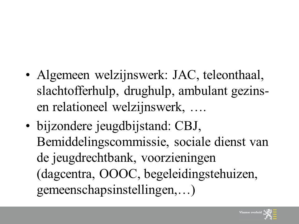 Geestelijke gezondheidszorg: Centrum Geestelijke Gezondheidszorg Kind en Gezin: vertrouwenscentra kindermishandeling, CKG's, inloopteams en preventieve werking (enkel onthaal, niet de laagdrempelige opvoedingsondersteuning) Vlaams Agentschap: MPI's, thuisbegeleiding, pleegzorg, tehuizen voor kortverblijf,… CLB: CLB