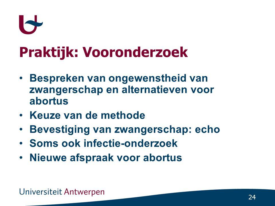 24 Praktijk: Vooronderzoek Bespreken van ongewenstheid van zwangerschap en alternatieven voor abortus Keuze van de methode Bevestiging van zwangerscha