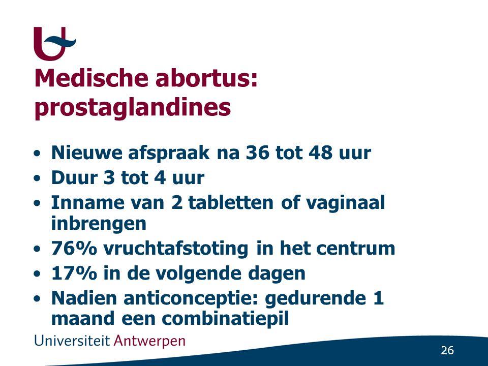 26 Medische abortus: prostaglandines Nieuwe afspraak na 36 tot 48 uur Duur 3 tot 4 uur Inname van 2 tabletten of vaginaal inbrengen 76% vruchtafstotin