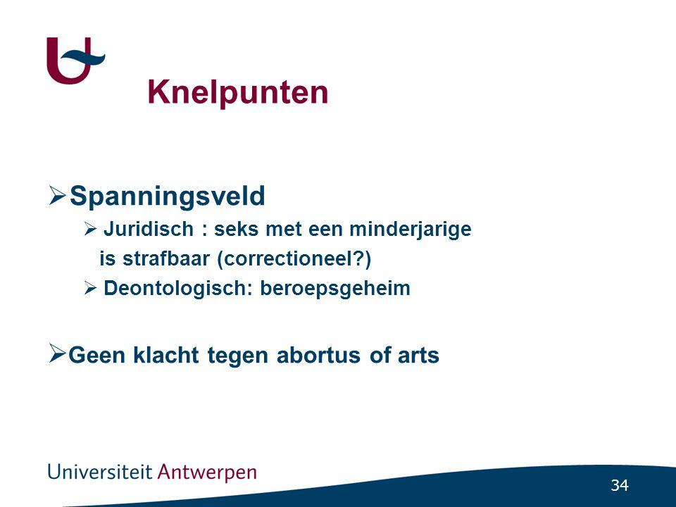 34 Knelpunten  Spanningsveld  Juridisch : seks met een minderjarige is strafbaar (correctioneel?)  Deontologisch: beroepsgeheim  Geen klacht tegen