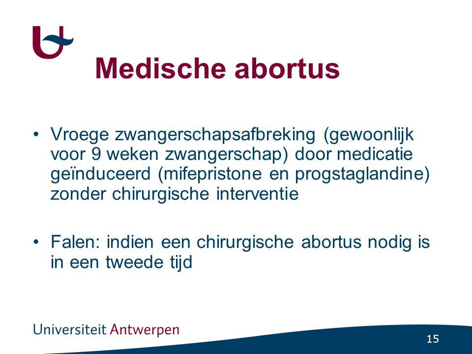 15 Medische abortus Vroege zwangerschapsafbreking (gewoonlijk voor 9 weken zwangerschap) door medicatie geïnduceerd (mifepristone en progstaglandine)