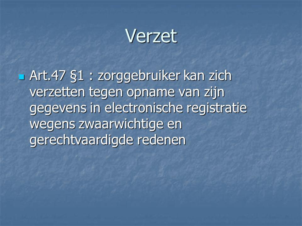 Verzet Art.47 §1 : zorggebruiker kan zich verzetten tegen opname van zijn gegevens in electronische registratie wegens zwaarwichtige en gerechtvaardigde redenen Art.47 §1 : zorggebruiker kan zich verzetten tegen opname van zijn gegevens in electronische registratie wegens zwaarwichtige en gerechtvaardigde redenen