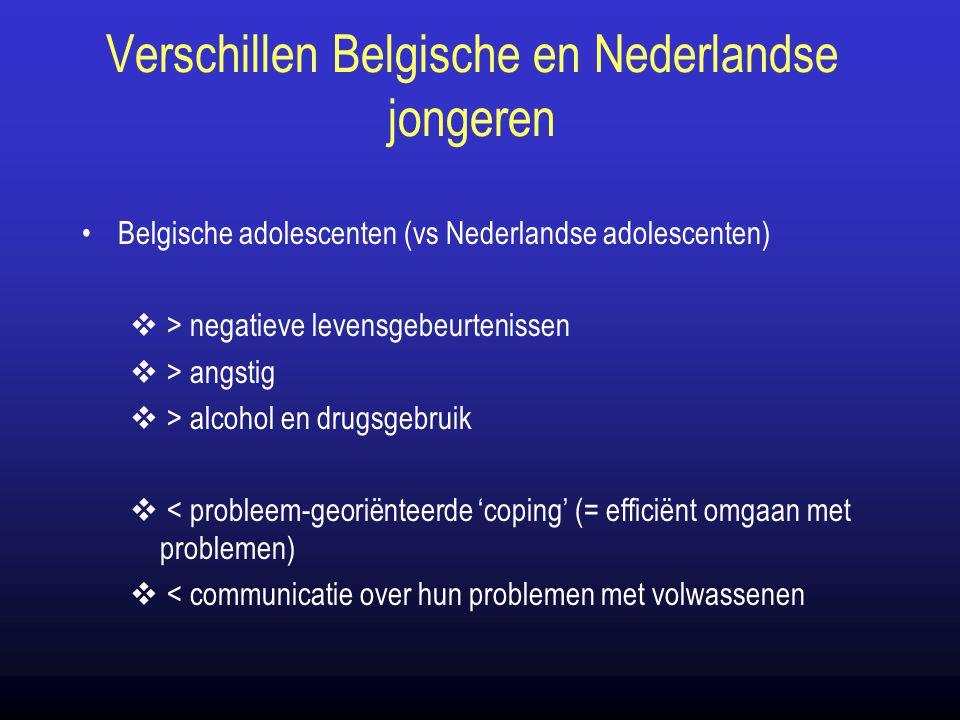 Verschillen Belgische en Nederlandse jongeren Belgische adolescenten (vs Nederlandse adolescenten)  > negatieve levensgebeurtenissen  > angstig  >