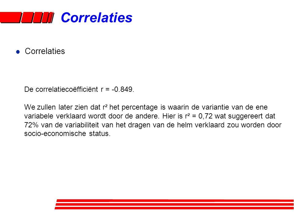 l Correlaties De correlatiecoëfficiënt r = -0.849. We zullen later zien dat r² het percentage is waarin de variantie van de ene variabele verklaard wo