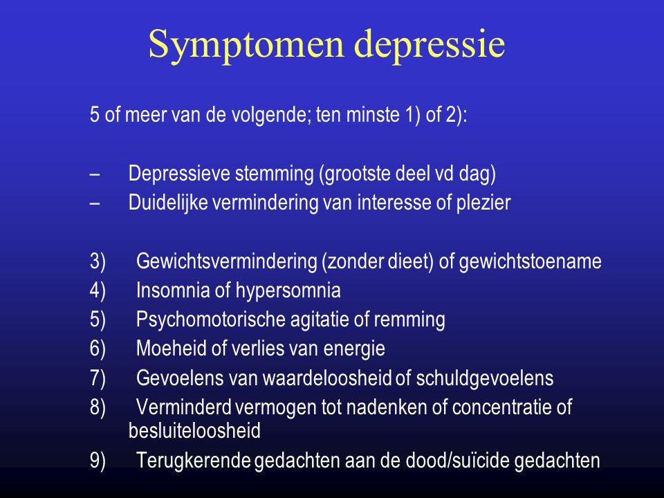 Symptomen depressie 5 of meer van de volgende; ten minste 1) of 2): –Depressieve stemming (grootste deel vd dag) –Duidelijke vermindering van interess