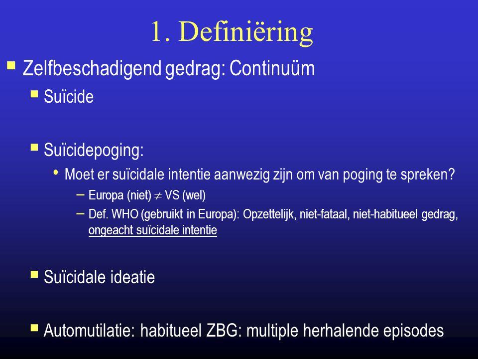 1. Definiëring  Zelfbeschadigend gedrag: Continuüm  Suïcide  Suïcidepoging: Moet er suïcidale intentie aanwezig zijn om van poging te spreken? – Eu