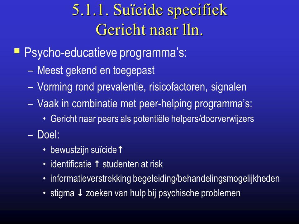 5.1.1. Suïcide specifiek Gericht naar lln.  Psycho-educatieve programma's: –Meest gekend en toegepast –Vorming rond prevalentie, risicofactoren, sign