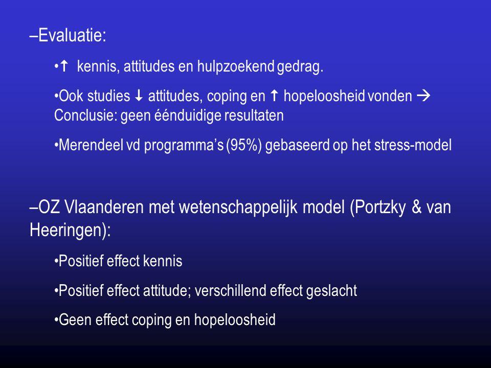 –Evaluatie:  kennis, attitudes en hulpzoekend gedrag. Ook studies  attitudes, coping en  hopeloosheid vonden  Conclusie: geen éénduidige resultate