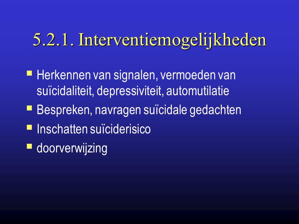 5.2.1. Interventiemogelijkheden  Herkennen van signalen, vermoeden van suïcidaliteit, depressiviteit, automutilatie  Bespreken, navragen suïcidale g