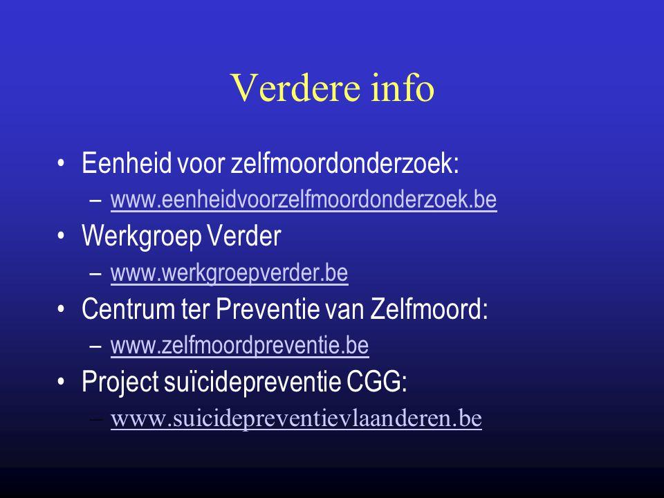 Verdere info Eenheid voor zelfmoordonderzoek: –www.eenheidvoorzelfmoordonderzoek.bewww.eenheidvoorzelfmoordonderzoek.be Werkgroep Verder –www.werkgroe