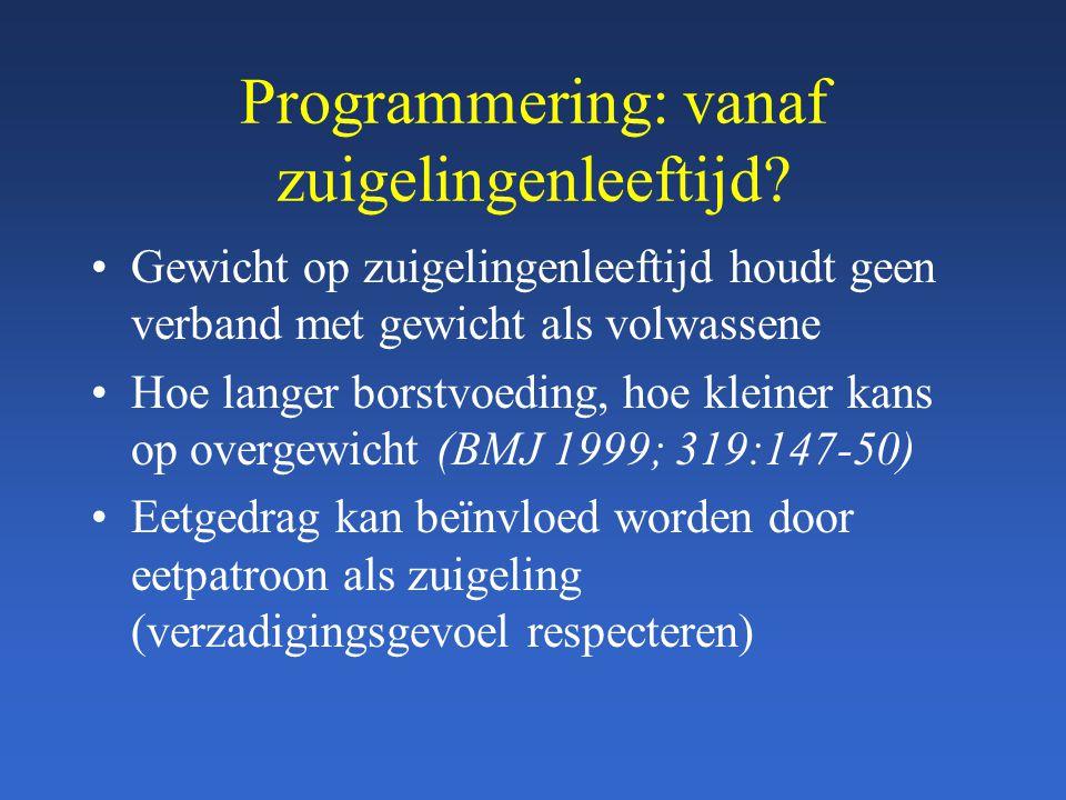 Programmering: vanaf zuigelingenleeftijd? Gewicht op zuigelingenleeftijd houdt geen verband met gewicht als volwassene Hoe langer borstvoeding, hoe kl