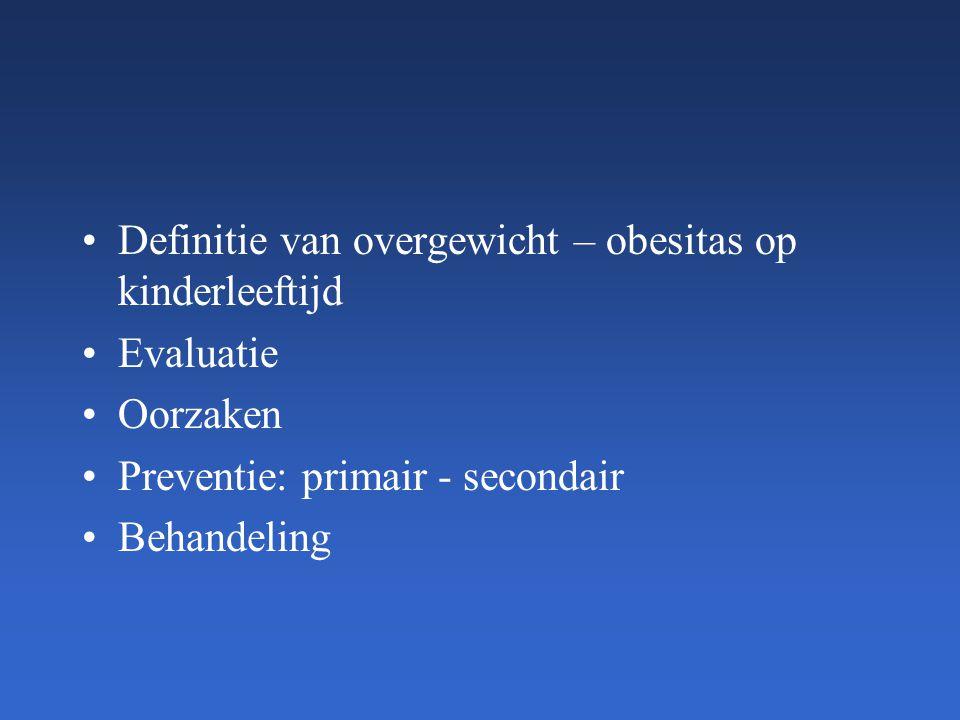 Definitie van overgewicht – obesitas op kinderleeftijd Evaluatie Oorzaken Preventie: primair - secondair Behandeling