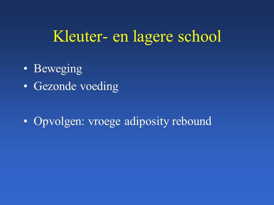 Kleuter- en lagere school Beweging Gezonde voeding Opvolgen: vroege adiposity rebound