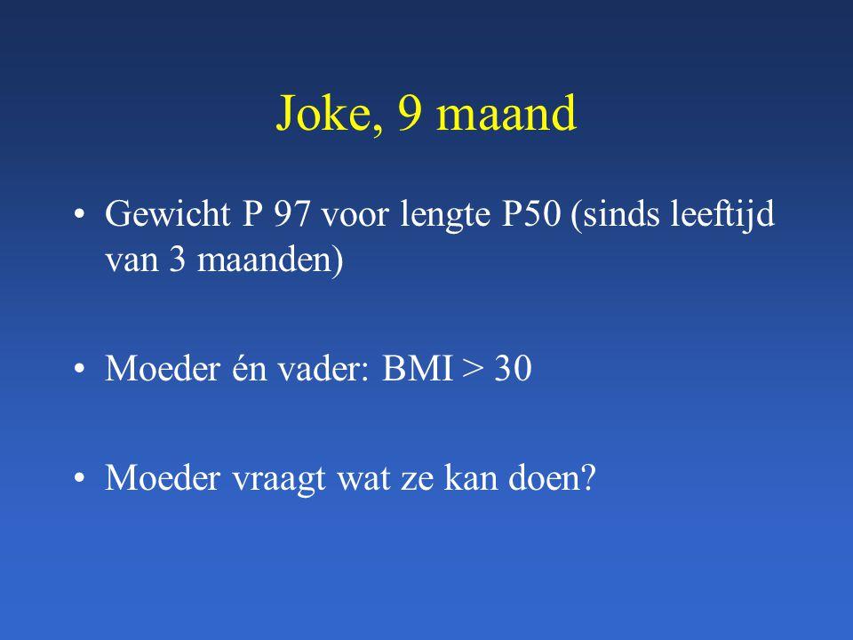 Joke, 9 maand Gewicht P 97 voor lengte P50 (sinds leeftijd van 3 maanden) Moeder én vader: BMI > 30 Moeder vraagt wat ze kan doen?