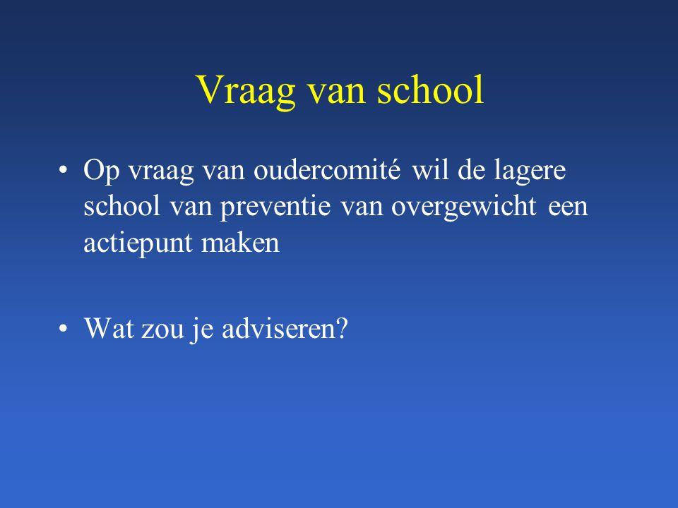 Vraag van school Op vraag van oudercomité wil de lagere school van preventie van overgewicht een actiepunt maken Wat zou je adviseren?