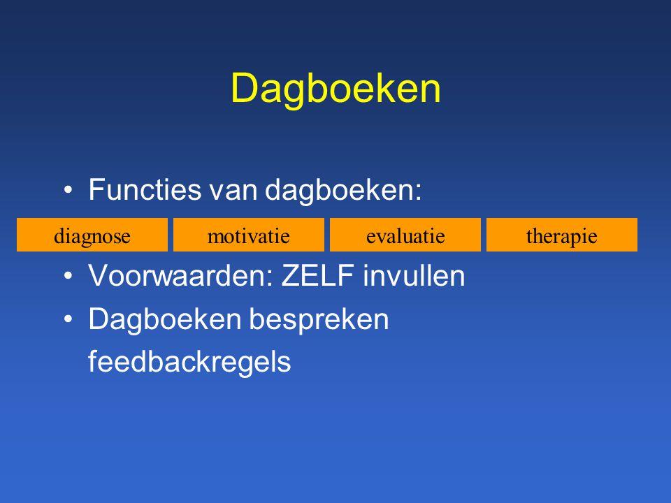 Dagboeken Functies van dagboeken: Voorwaarden: ZELF invullen Dagboeken bespreken feedbackregels diagnosemotivatieevaluatietherapie