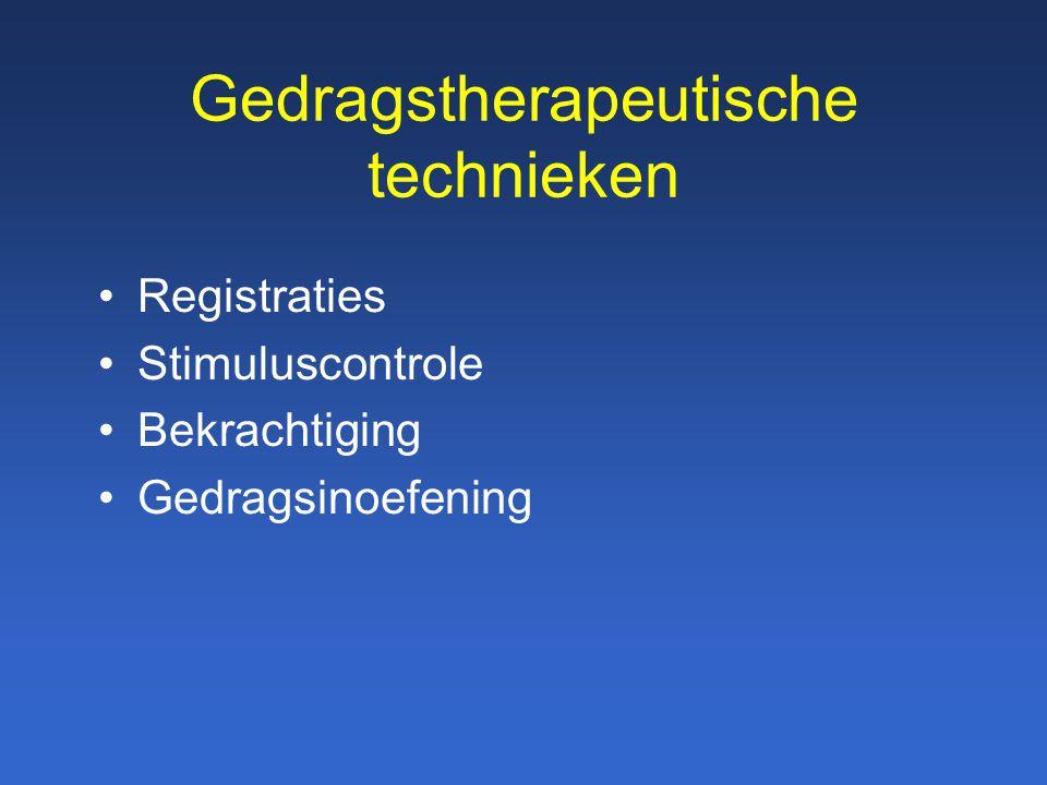 Gedragstherapeutische technieken Registraties Stimuluscontrole Bekrachtiging Gedragsinoefening