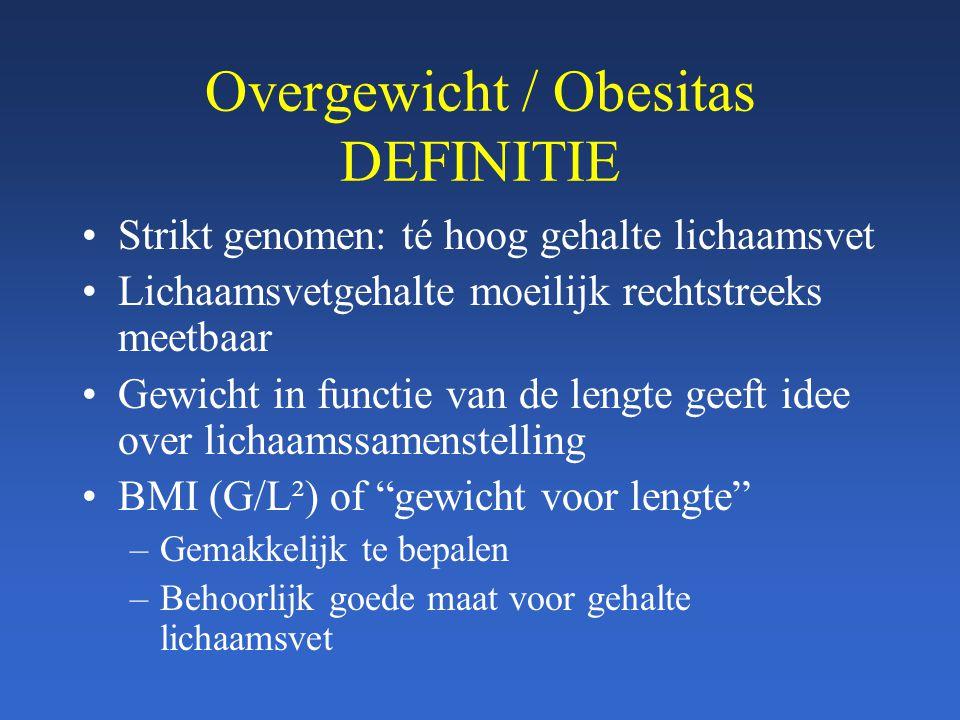 Overgewicht / Obesitas DEFINITIE Strikt genomen: té hoog gehalte lichaamsvet Lichaamsvetgehalte moeilijk rechtstreeks meetbaar Gewicht in functie van
