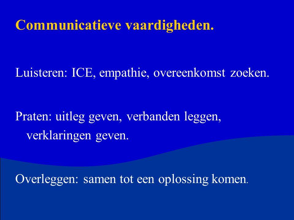 Communicatieve vaardigheden. Luisteren: ICE, empathie, overeenkomst zoeken. Praten: uitleg geven, verbanden leggen, verklaringen geven. Overleggen: sa