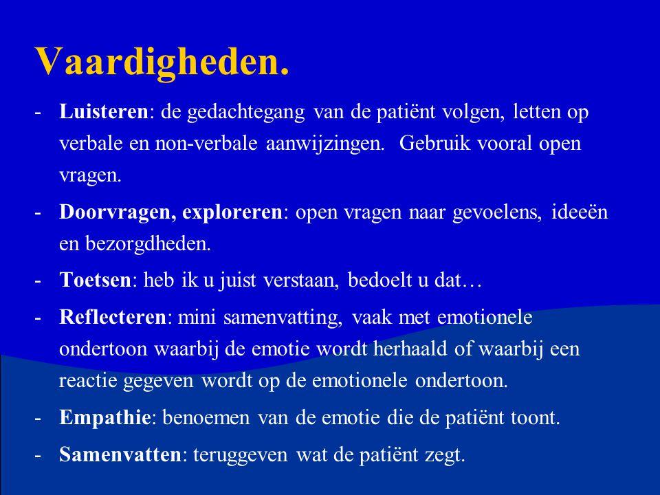Vaardigheden. -Luisteren: de gedachtegang van de patiënt volgen, letten op verbale en non-verbale aanwijzingen. Gebruik vooral open vragen. -Doorvrage