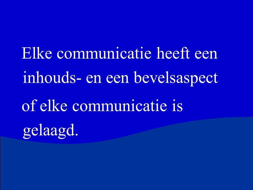 Elke communicatie heeft een inhouds- en een bevelsaspect of elke communicatie is gelaagd.