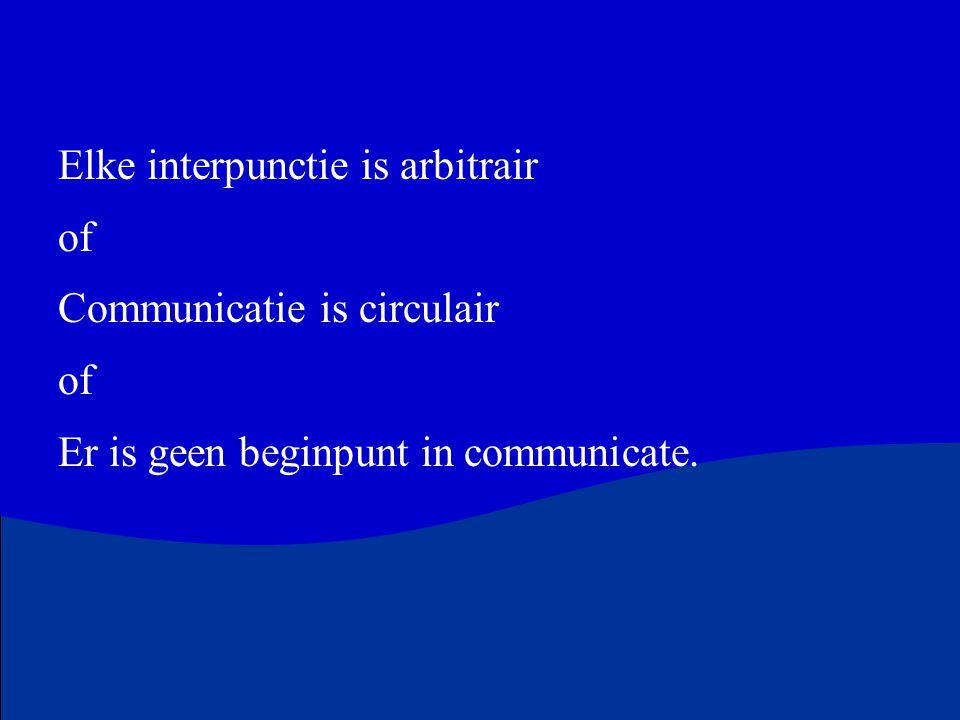 Elke interpunctie is arbitrair of Communicatie is circulair of Er is geen beginpunt in communicate.