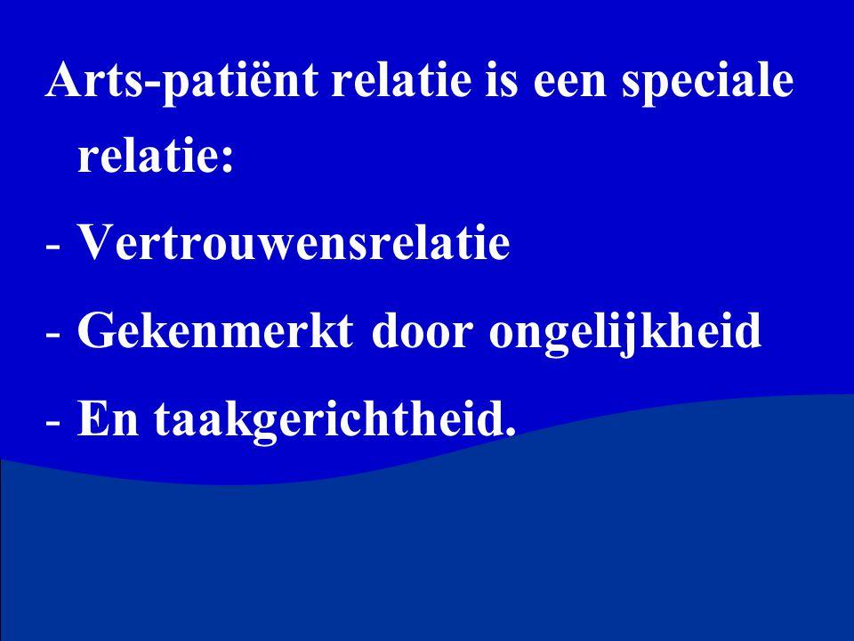 Arts-patiënt relatie is een speciale relatie: -Vertrouwensrelatie -Gekenmerkt door ongelijkheid -En taakgerichtheid.