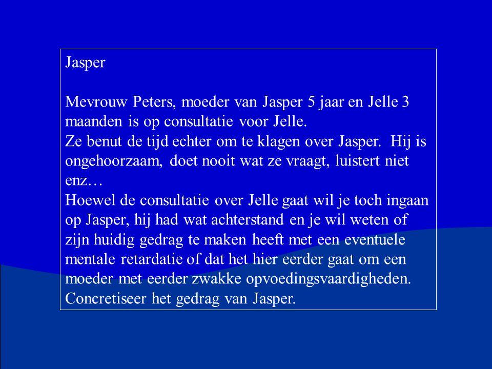 Jasper Mevrouw Peters, moeder van Jasper 5 jaar en Jelle 3 maanden is op consultatie voor Jelle. Ze benut de tijd echter om te klagen over Jasper. Hij