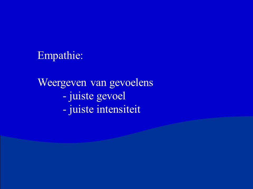 Empathie: Weergeven van gevoelens - juiste gevoel - juiste intensiteit