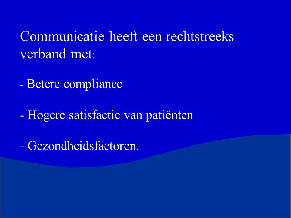 Communicatie heeft een rechtstreeks verband met : - Betere compliance - Hogere satisfactie van patiënten - Gezondheidsfactoren.