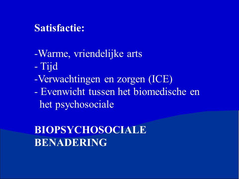 Satisfactie: -Warme, vriendelijke arts - Tijd -Verwachtingen en zorgen (ICE) - Evenwicht tussen het biomedische en het psychosociale BIOPSYCHOSOCIALE