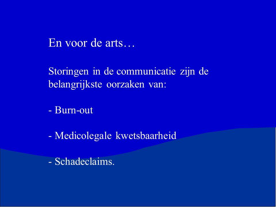 En voor de arts… Storingen in de communicatie zijn de belangrijkste oorzaken van: - Burn-out - Medicolegale kwetsbaarheid - Schadeclaims.