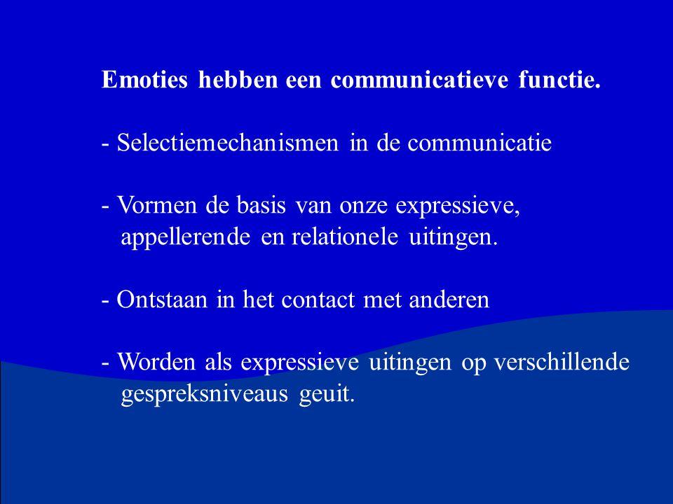 Emoties hebben een communicatieve functie. - Selectiemechanismen in de communicatie - Vormen de basis van onze expressieve, appellerende en relationel