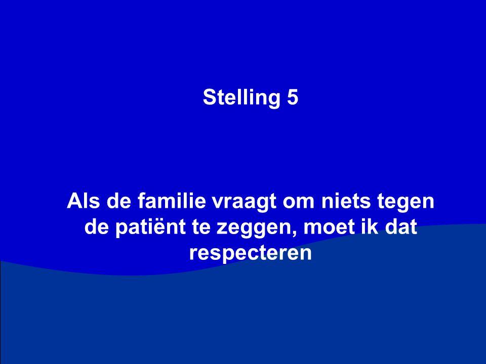Stelling 5 Als de familie vraagt om niets tegen de patiënt te zeggen, moet ik dat respecteren