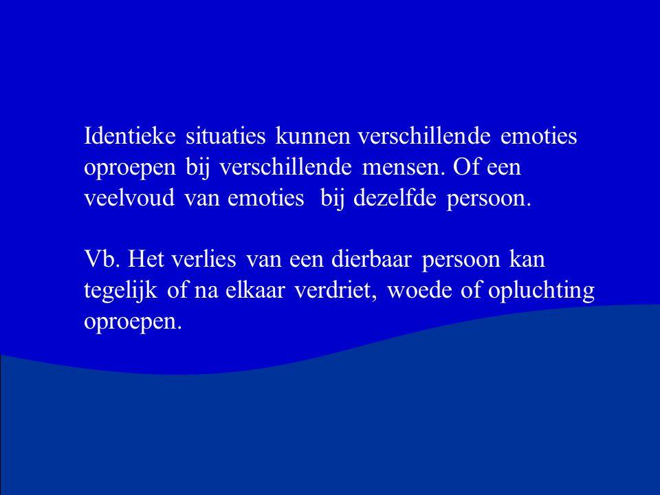 Identieke situaties kunnen verschillende emoties oproepen bij verschillende mensen. Of een veelvoud van emoties bij dezelfde persoon. Vb. Het verlies
