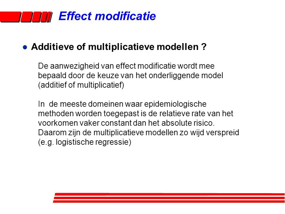 l Voorbeeld Effect modificatie Ziekte met base-line incidentie dichtheid (ID) 1/100,000 pers.jaren Blootstelling aan determinant X 1 geeft: ID = 4/100,000 pers.jaren Blootstelling aan determinant X 2 geeft: ID = 10/100,000 pers.jaren X 1 +X 1 - X 2 + X 2 - X 2 + X 2 - .